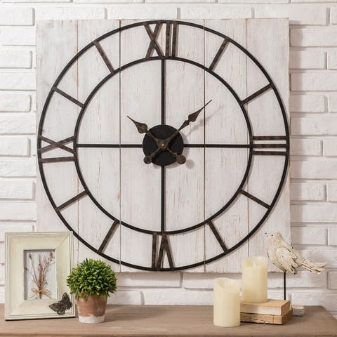 "Glitzhome 31.50""D Oversized Farmhouse Wooden/Metal Wall Clock"