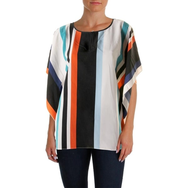 Vince Camuto Womens Poncho Top Striped Keyhole
