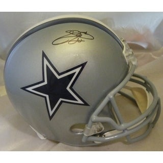Emmitt Smith Autographed Dallas Cowboys Full Size Replica Helmet Name Only JSA