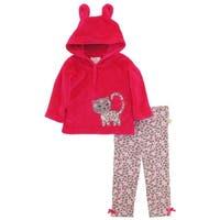 Duck Goose Baby Girls Cheetah Sherpa Ear Cardigan Hoodie 2Pc Gift Outfit Set