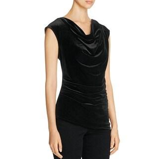 Calvin Klein Womens Casual Top Velvet Asymmetric