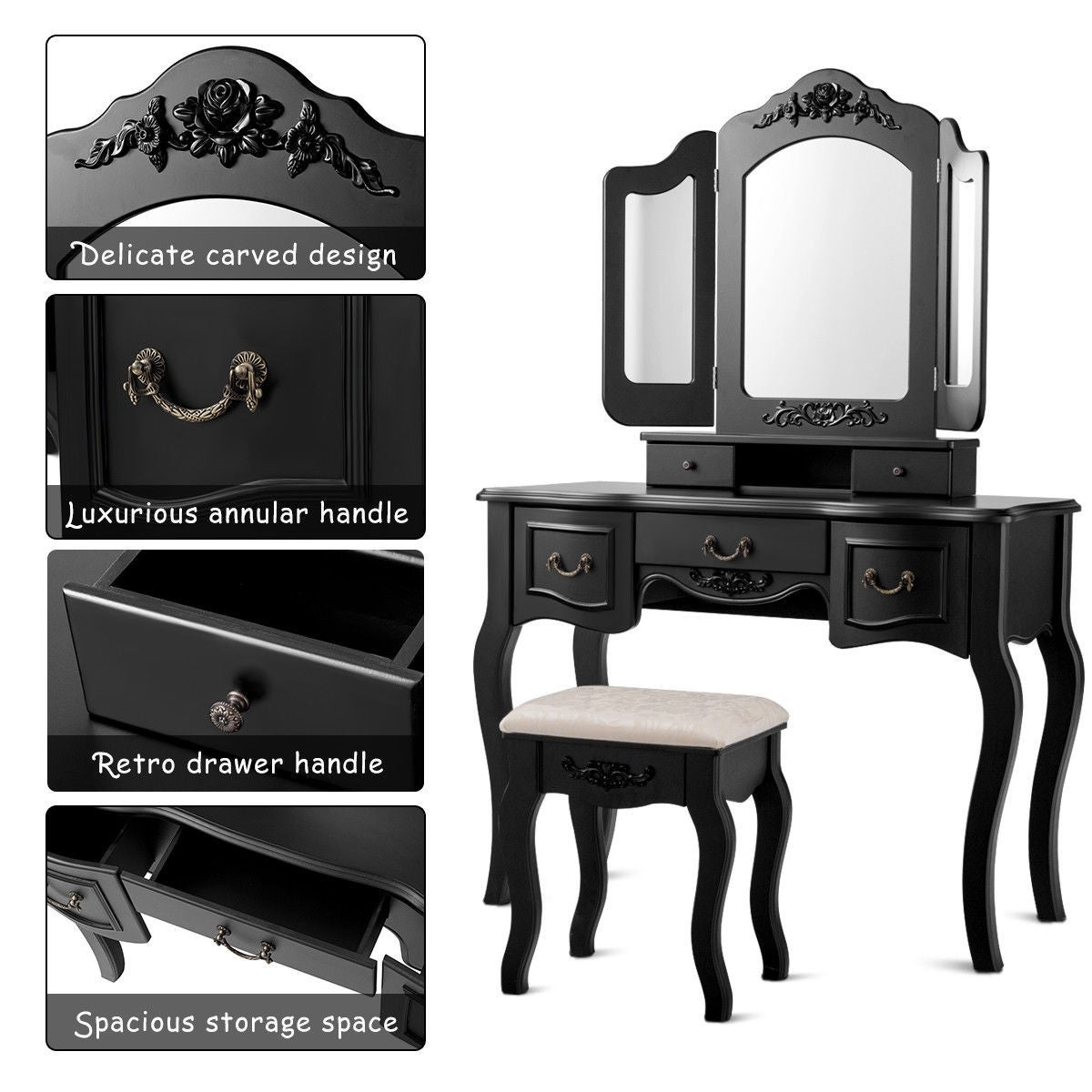 Tri Folding Vintage Vanity Makeup Dressing Table Set 5 Drawers Christmas Black Black Overstock 28422403