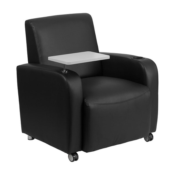 Offex Black Leather Guest Chair with Tablet Arm, Front Wheel Casters and Cup Holder [OF-BT-8217-BK-CS-GG]