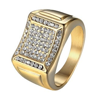 14k Gold Tone Ring Mens Stainless Steel Wedding Engagement Iced Out Pinky