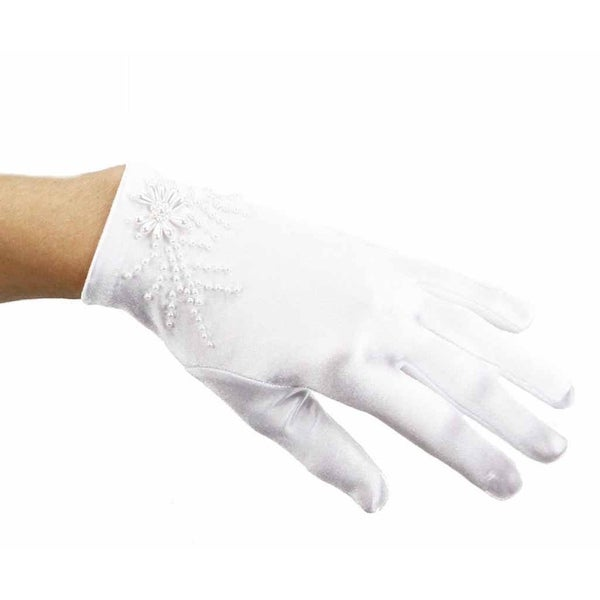 Cream and Sugar Soft Stretch Satin Gloves with Pearls