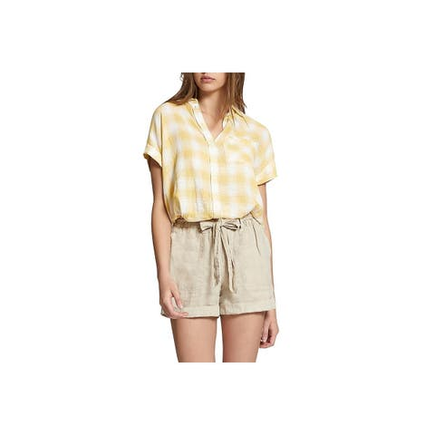 Sanctuary Womens Mod Button-Down Top Plaid Short Sleeves