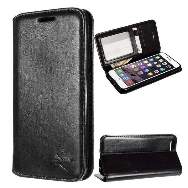 Insten Black Stand Folio Flip Leather Wallet Flap Pouch Case Cover for Apple iPhone 6/ 6s