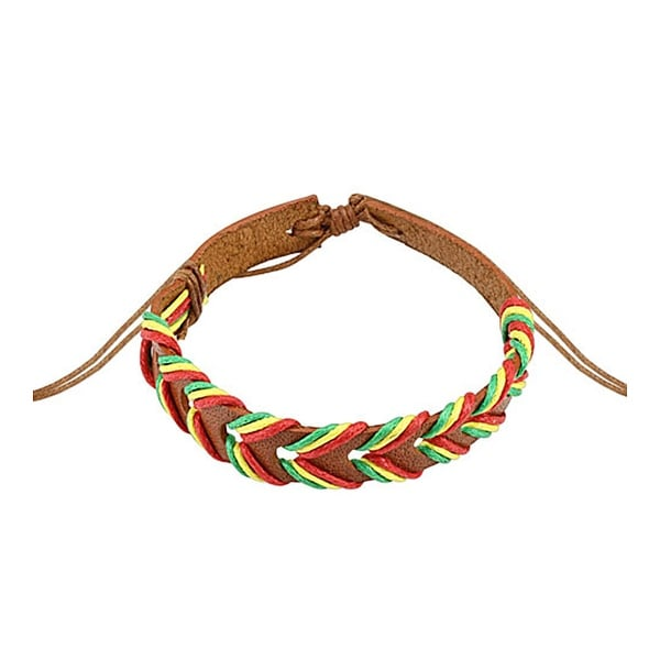 Light Brown Rasta Weaved Leather Bracelet with Drawstring (10 mm) - 7.5 in