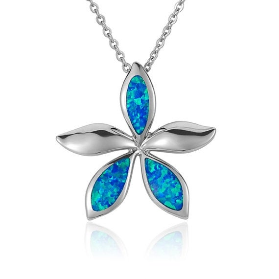 "Plumeria Necklace Opal Sterling Silver Pendant 18"" Chain"