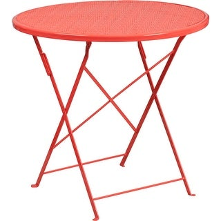 Westbury Round 30'' Coral Steel Folding Table for Patio/Bar
