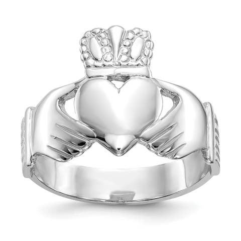 10K White Gold High Polished 8mm Men's Claddagh Ring by Versil