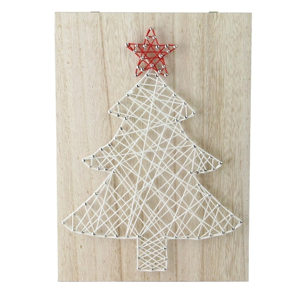 """11"""" """"Crazy String"""" Natural Finished Wood and White String Christmas Tree Wall Decoration"""