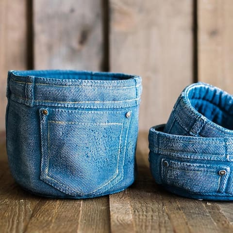 RusticReach Blue Jeans Cement Flower Pot