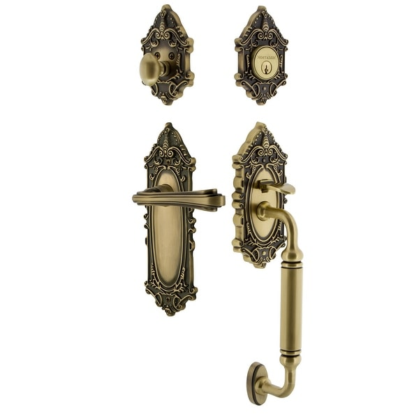 Nostalgic Warehouse VICFLR_ESET_238_CG_LH Victorian Left Handed Sectional Single Cylinder Keyed Entry Handleset with C Grip and