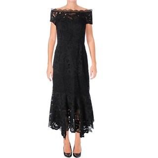 Nanette Lepore Womens La Dolce Vita Evening Dress Lace Flounce Hem - 2