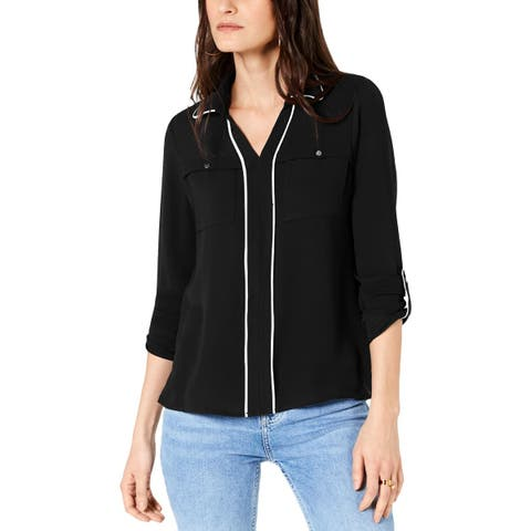 NY Collection Womens Petites Blouse Piped V-Neck