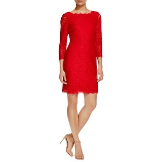 Adrianna Papell Womens Petites Cocktail Dress Lace 3/4 Sleeve