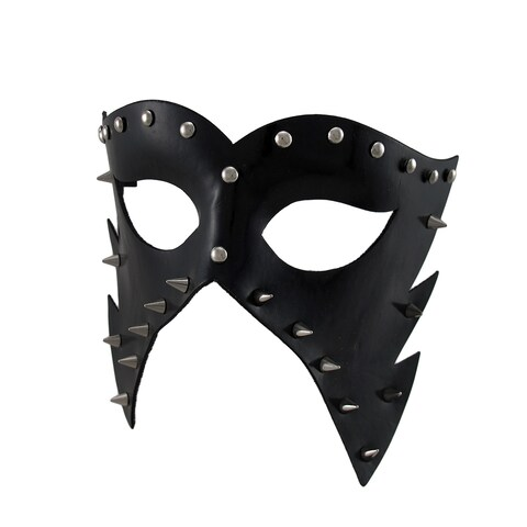 Black Vinyl Spiked And Studded Half-Face Masquerade Mask