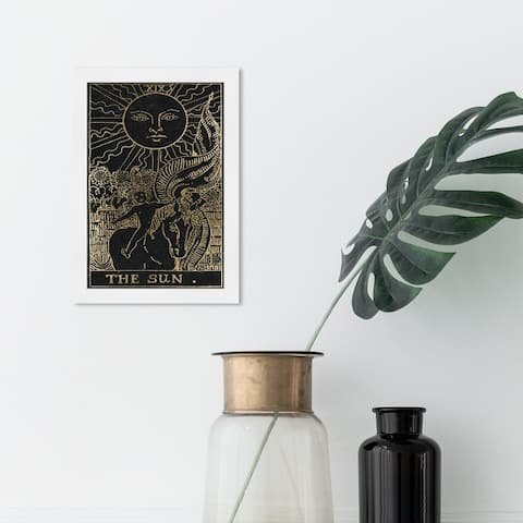 Oliver Gal 'The Sun Tarot' Spiritual and Religious Framed Wall Art Prints Astrology - Black, Gold