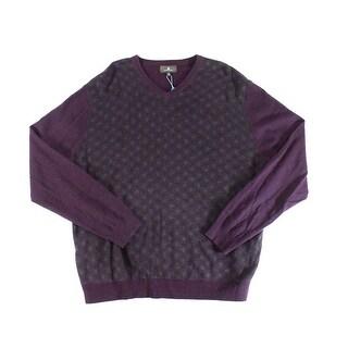 Toscano NEW Purple Men's Size 2XL V-Neck Plaid Longsleeve Sweater