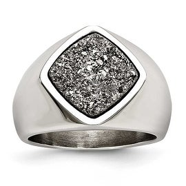 Stainless Steel Polished with Silver Druzy Ring