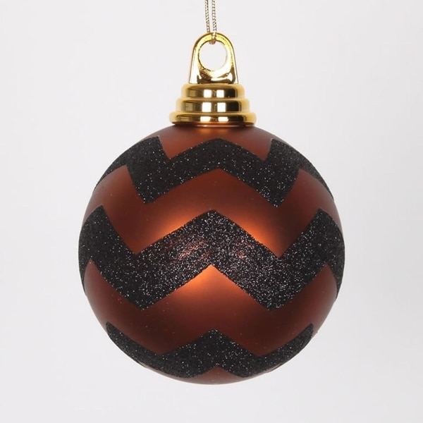 "Copper Matte and Black Glitter Chevron Shatterproof Christmas Ball Ornaments 4"" (100mm) - ORANGE"