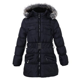 Richie House Girls' Padding Jacket with Detachable Hood