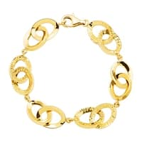 Eternity Gold Textured Oval Link Bracelet in 14K Gold - Yellow