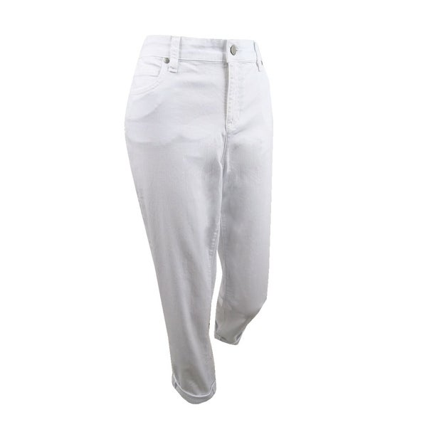 Eileen Fisher Women's Cuffed Organic Jeans - White. Opens flyout.