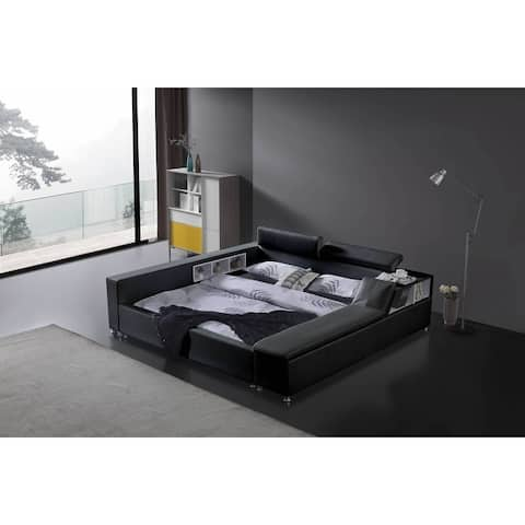 Greatime B2008 Modern Platform Bed with Siderail Storage