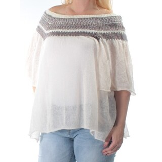 FREE PEOPLE $118 Womens New 1069 Ivory Short Sleeve Off Shoulder Sweater S B+B