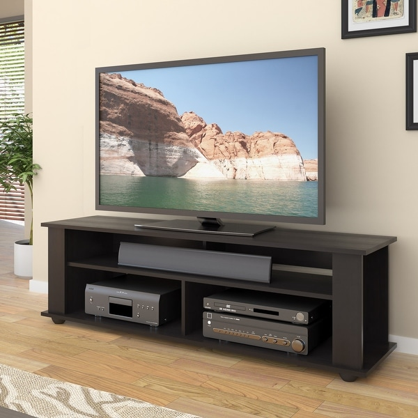 """CorLiving Bakersfield Black Wooden TV Stand, for TVs up to 75"""". Opens flyout."""