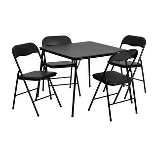 Offex 5 Piece Black Folding Card Table and Chair Set [OF-JB-1-GG]