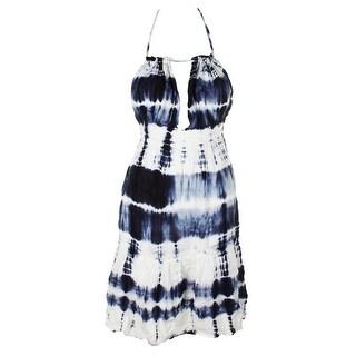 Raviya Blue White Tie-Dyed Short Halter Dress Cover-Up XL