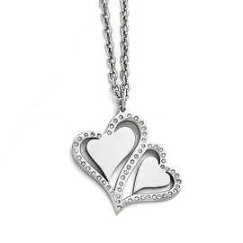 Chisel Stainless Steel Polished Hearts with Crystals with 2.25in. Ext. Necklace - 15.75 in