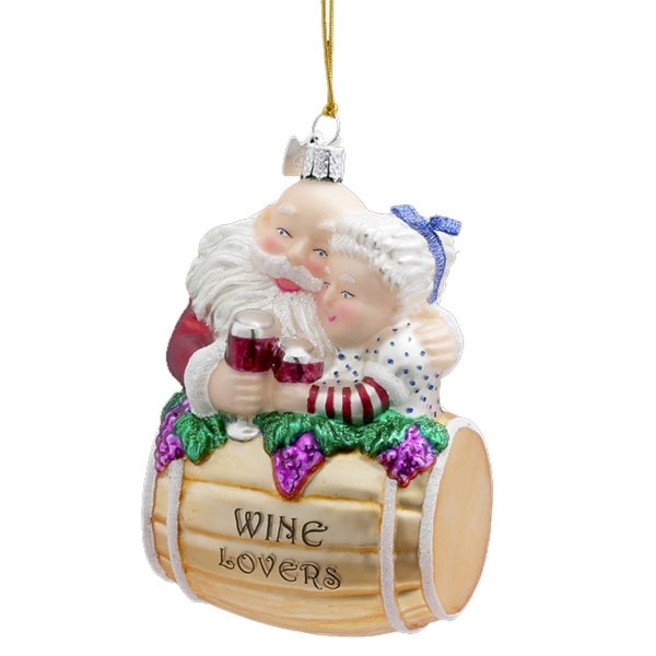 "4.25"" Noble Gems Santa and Mrs. Claus Barrel Wine Lovers Christmas Ornament - multi"