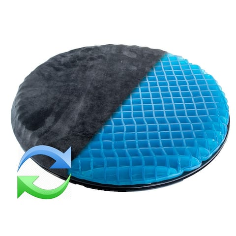 360 Swivel Rotating Car Seat Cushion Orthopedic Honeycomb Gel Easy In Out - Black - 16 inches