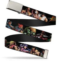 Blank Chrome Buckle Street Fighter 14 Character Stance Poses Black Web Belt