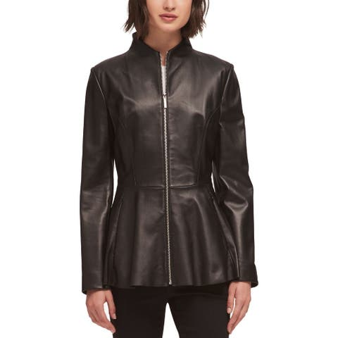 DKNY Women's Jacket Motorcycle Real-Leather Full-Zip
