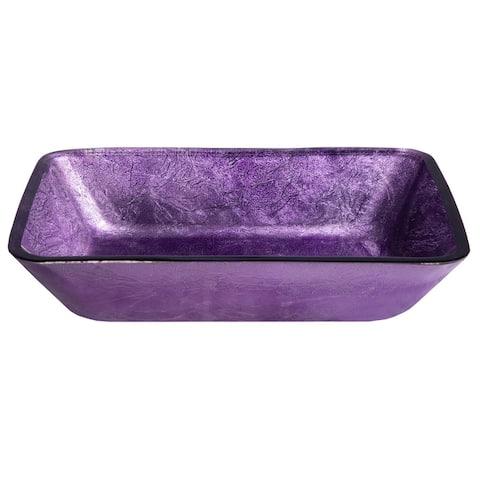 Rectangular Purple Foil Glass Vessel Sink