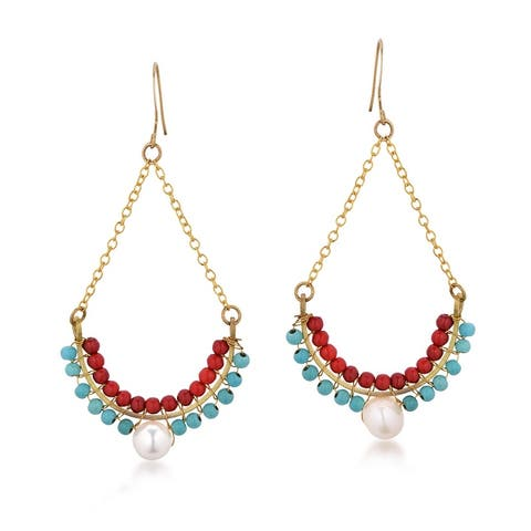 Handmade Bohemian Teardrop Red Coral and Blue Turquoise & Pearl Brass Chandelier Earrings (Thailand) - Multi
