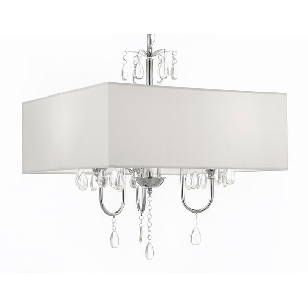 Modern Contemporary Crystal Chandelier With Large White Shade