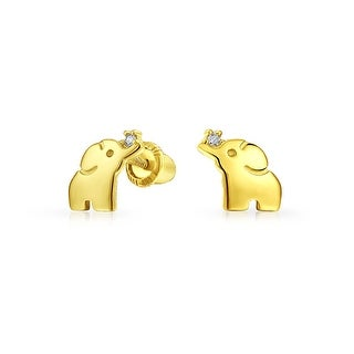 Tiny Minimalist Lucky Elephant Stud Earrings For Women For Teen For Girlfriend Real 14K Yellow Gold Screwback