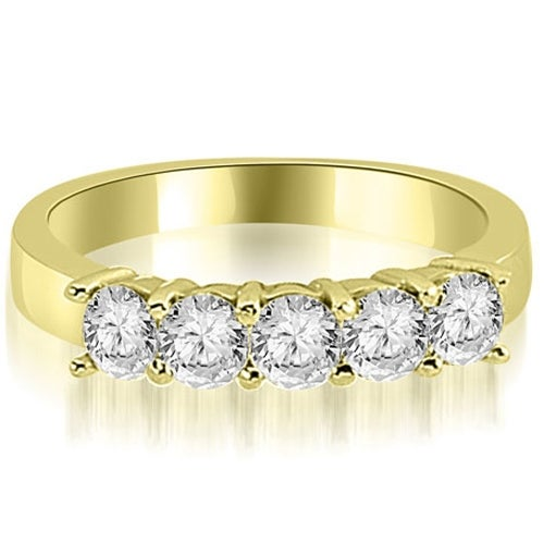 1.00 cttw. 14K Yellow Gold Round Diamond Classic 5-Stone Prong Wedding Band