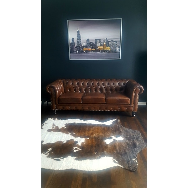 Shop Abbyson Grand Chesterfield Brown Top Grain Leather Sofa - On Sale - Free Shipping Today - Overstock.com - 11807331