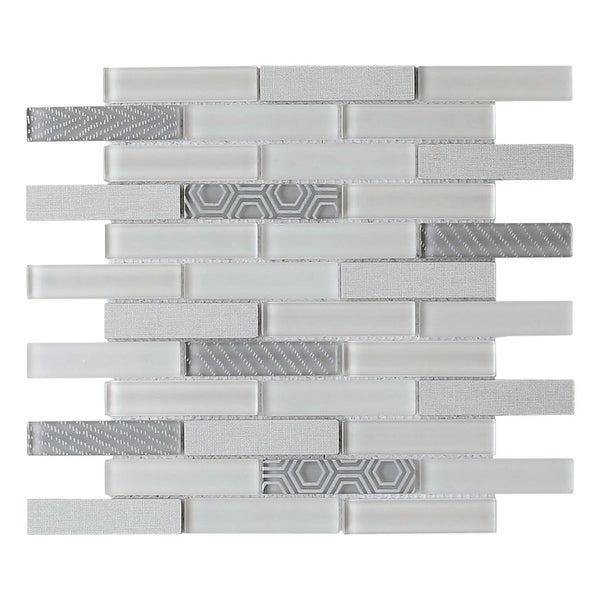 "Emser Tile W94VOLA1212MO Volare - 11-3/4"" x 11-3/4"" Linear Backsplash Mosaic Tile - Varied Glass Visual"