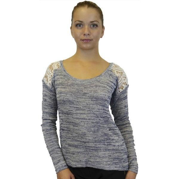 Women's Lace Back Shoulders Top Sweater Knit Shirt Blouse, S M L
