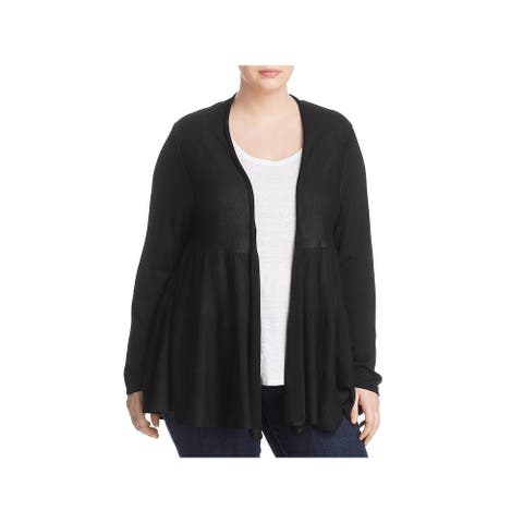 Joseph A. Womens Plus Cardigan Sweater Ribbed Knit Open Front
