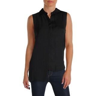 DKNY Womens Petites Blouse Satin Asymmetric Hem Black XP