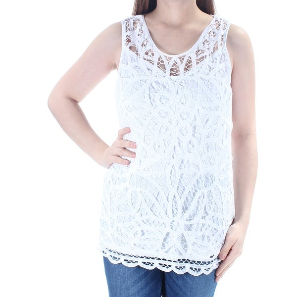 57936603e8a38 Shop INC Womens White Lace Eyelet Sleeveless Scoop Neck Top Size  XL - Free  Shipping On Orders Over  45 - Overstock.com - 23454965